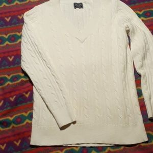 Chaps V Neck Cable Sweater
